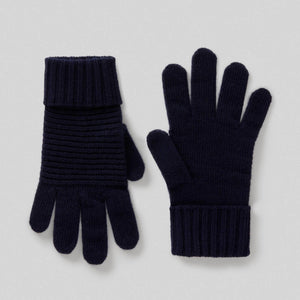Navy Wool Blend Gloves