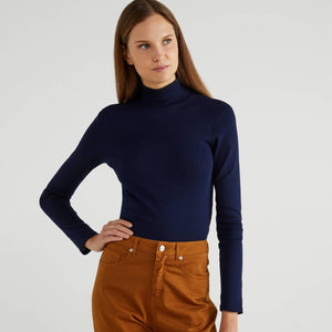 Navy Polo Neck Top