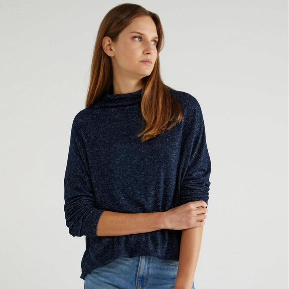 Navy Turtleneck Sweater in Jersey