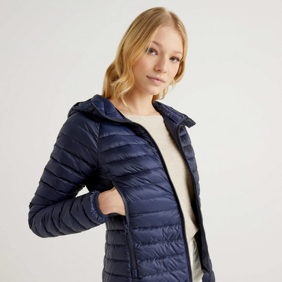 Navy Puffer Jacket with Hood