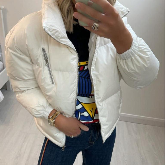 White Puffer Jacket with High Neck