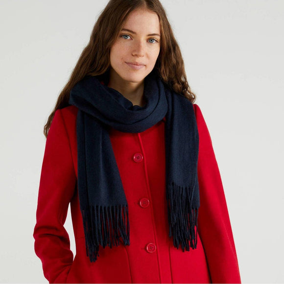 Dark Blue Scarf with Fringe