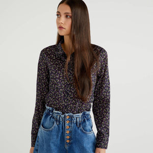 Navy Printed Shirt with Pink Flowers