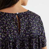 Navy Printed Blouse with Pink Flowers