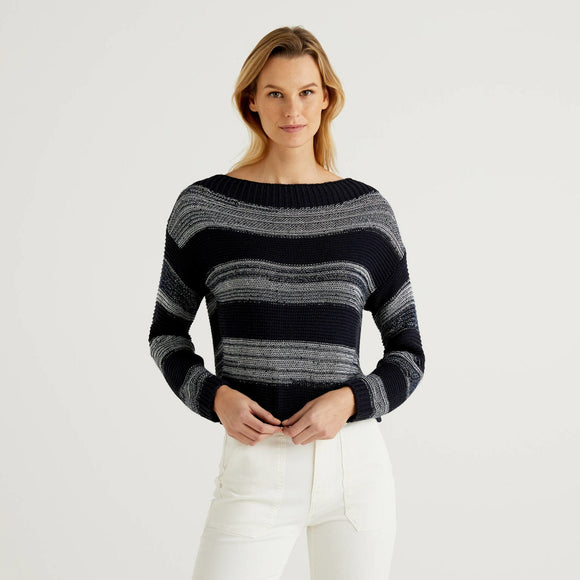 Navy Benetton Striped Sweater with Sequins