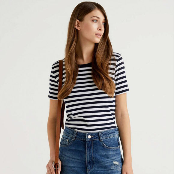 Navy & White Striped Crew Neck T-shirt