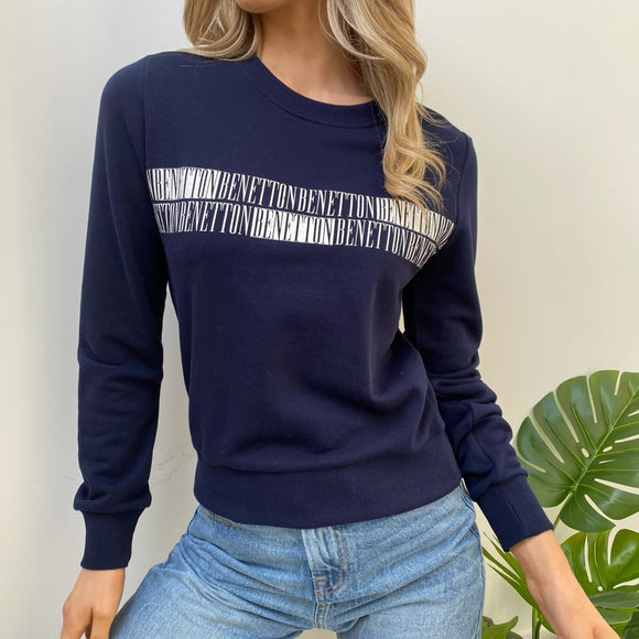 Navy Cotton Sweatshirt with Logo