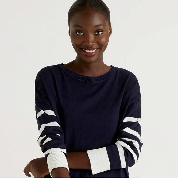 Navy Sweater with Slit at Back