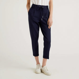 Navy Trousers with Drawstring & Cuff