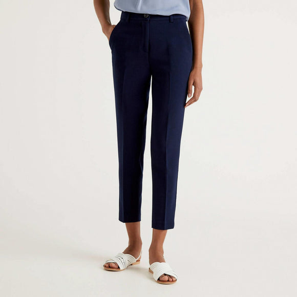 Navy Trousers with Crease
