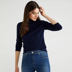 Navy Turtleneck in 100% Virgin Wool