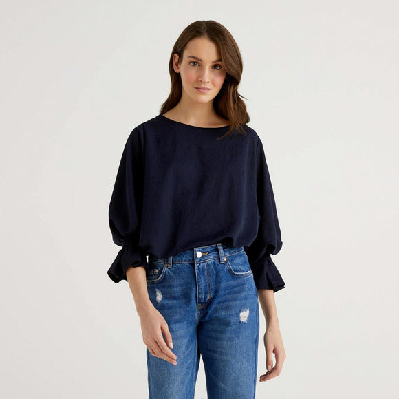 Navy Blouse with Gathered Sleeves
