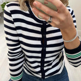 Navy & White Stripe Crew Neck Cardigan