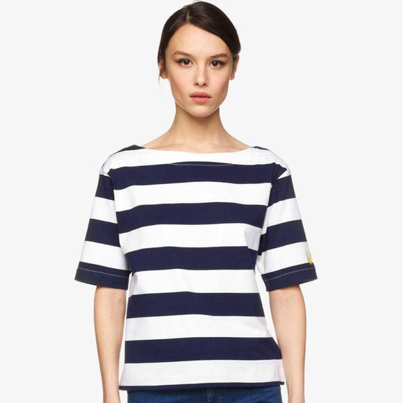 Navy & White Striped Top with Boat Neck