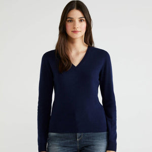 Navy V-neck Sweater in 100% Virgin Wool