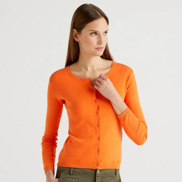 Orange Crew Neck Cardigan in Cotton