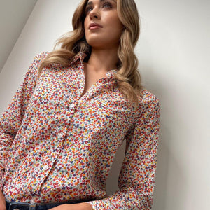 White Printed Shirt with Multi-colour Flowers