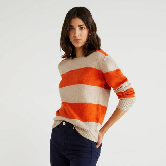 Orange Stripe Sweater in Shetland Wool