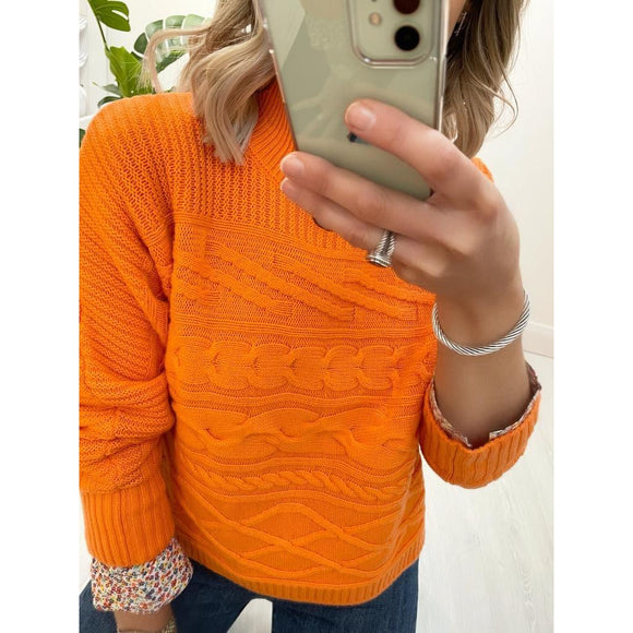 Orange Crew Neck Sweater in Wool & Cashmere
