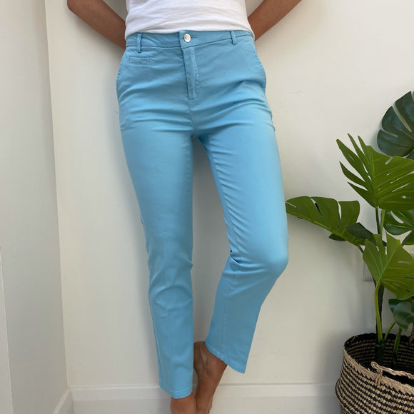Pale Blue Slim Fit Chinos