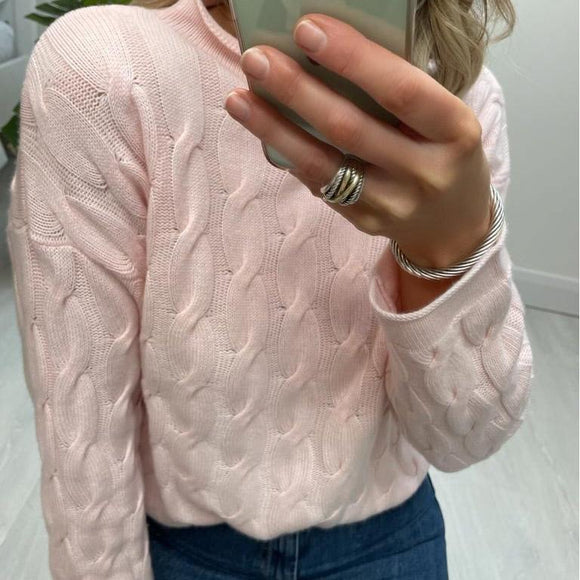 Pink Cable Knit Cashmere Mix Crew Neck Sweater