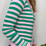 Pink & Green Stripe Crew Neck Cardigan