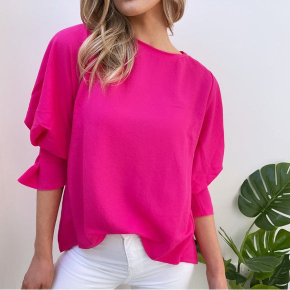 Fuchsia Blouse with Gathered Sleeves