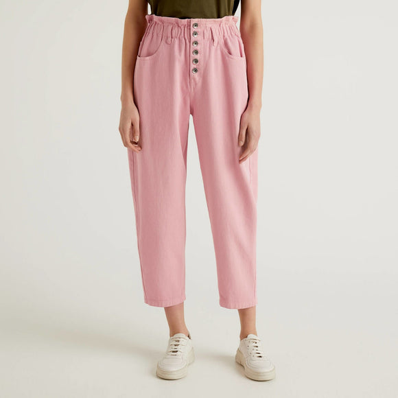 Pink High Waisted Benetton Trousers