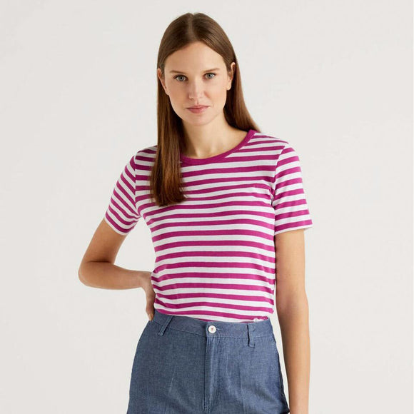 Pink & White Striped Crew Neck T-shirt