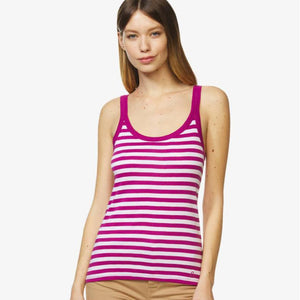 Pink & White Striped Vest Top