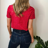 Red Printed Blouse with Anchor Motifs