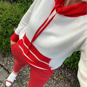 White & Red Funnel Neck Sweater