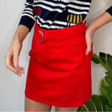Red Mini Skirt with Belt