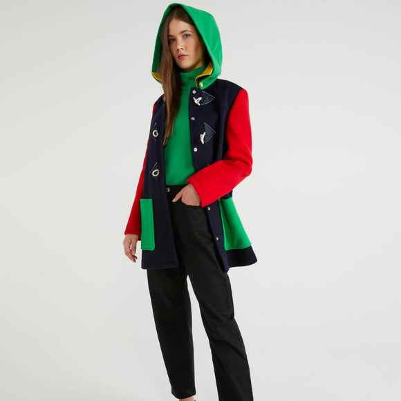 Multi-colour Duffel Coat with Removable Hood