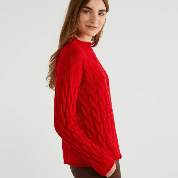 Red Cable Knit Cashmere Mix Crew Neck Sweater