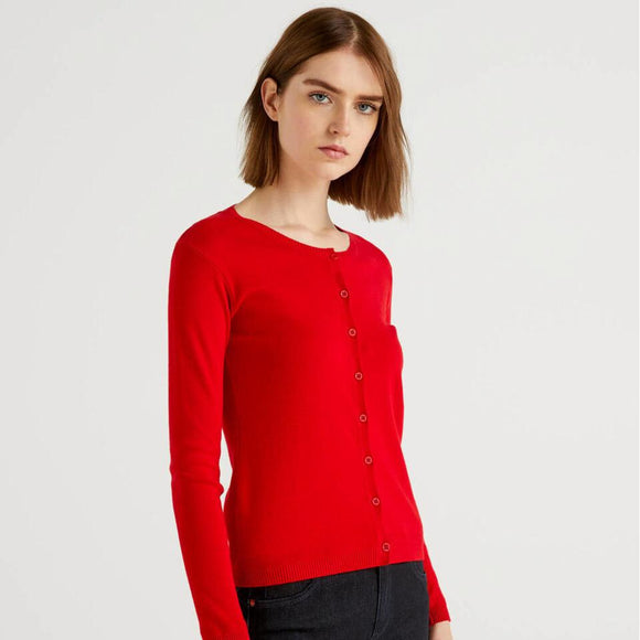 Red Crew Neck Cardigan in Cotton