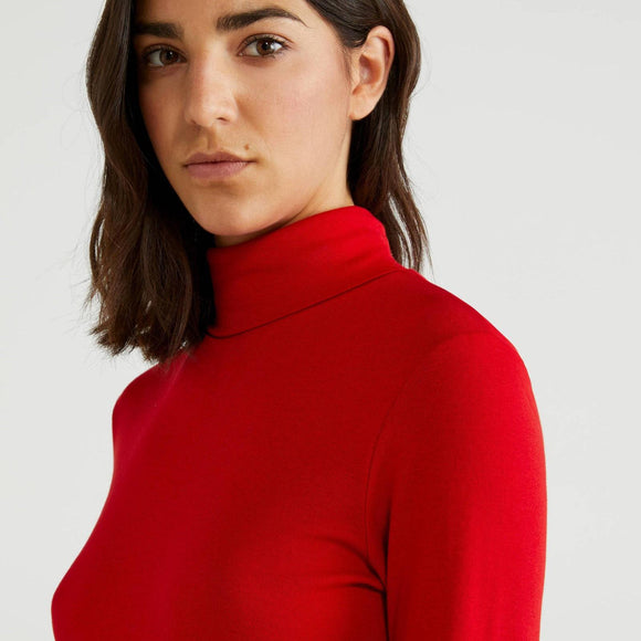 Red Polo Neck Top