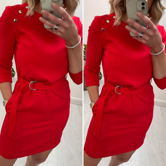 Red Dress with Belt