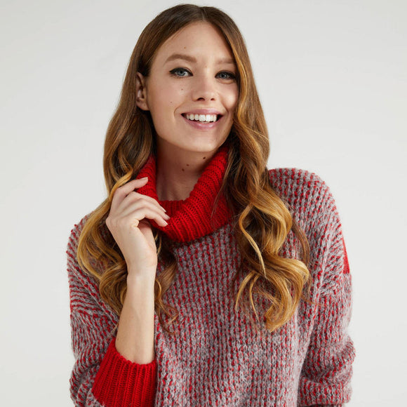 Red & Grey Soft Turtleneck