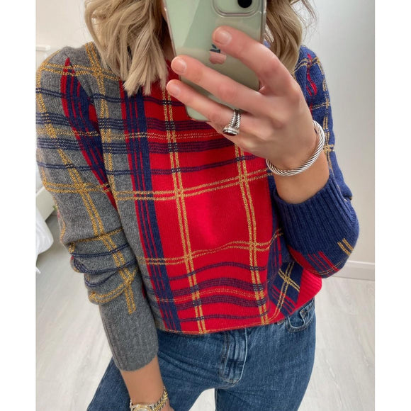 Red Check Sweater with Lurex