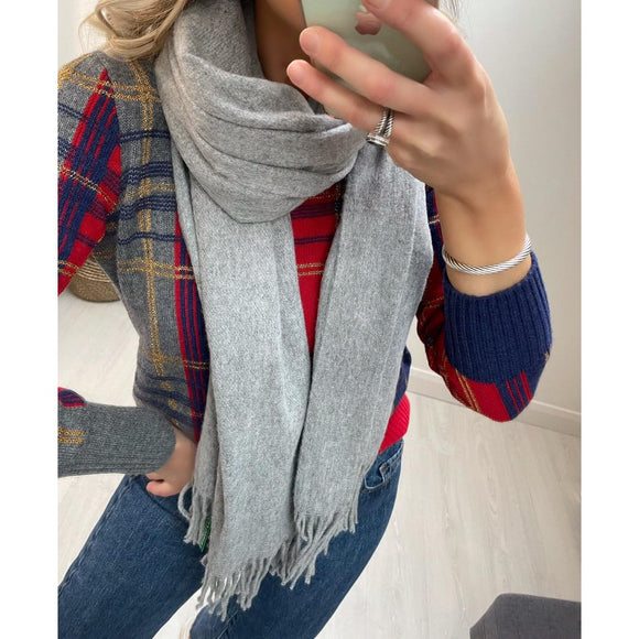 Grey Scarf with Fringe