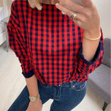 Red Check Drop Shoulder Top