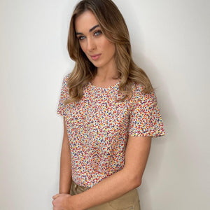White Printed Blouse with Red & Orange Flowers