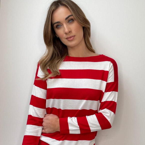 White Sweater with Red Stripes