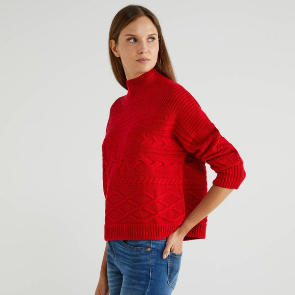 Red Crew Neck in Wool & Cashmere