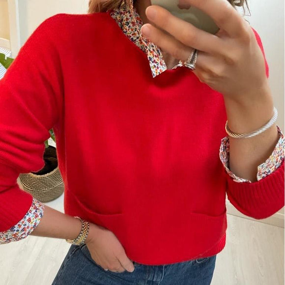 Red Sweater with Pockets