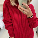 Red Ribbed Sweater with Zip