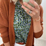 Navy Printed Blouse with Blue & Green Flowers