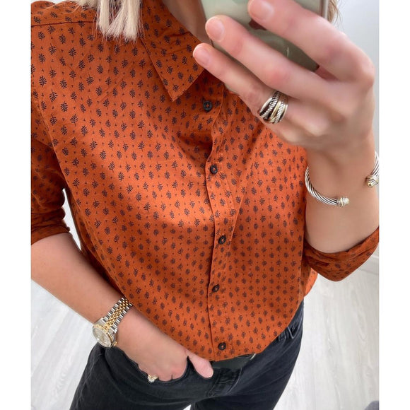 Rust Printed Shirt with Leaf Motif