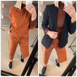 Rust Leather Look Trousers